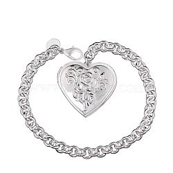 Brass Cable Chains Bracelets for Women, with Heart Locket Pendant and Lobster Clasps, Silver Color Plated, 203.2mm(BJEW-BB09796)