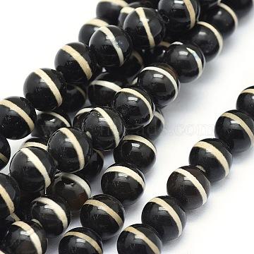 Tibetan Style Striped Pattern dZi Beads Strands, Natural Agate Beads, Dyed & Heated, Round, Black, 8~8.5mm, Hole: 0.8mm; about 47pcs/strand, 14.7''(37.5cm)(TDZI-O003-40B)