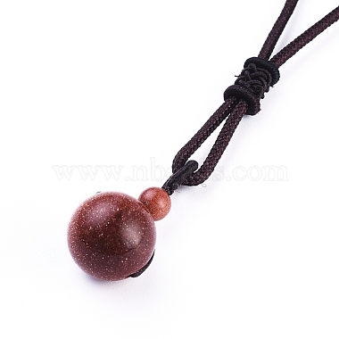 Synthetic Goldstone Pendant Necklaces(NJEW-P241-A13)-3