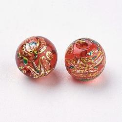 Fleur photo perles de verre imprimé, rond, rouge, 8x7mm, Trou: 1mm(GLAA-E399-8mm-B07)
