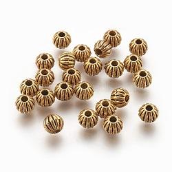 Alliage de style tibétain perles ondulées, sans plomb et sans cadmium, rond, de couleur or antique , environ 6 mm de diamètre, Trou: 1mm(X-GLF10326Y)