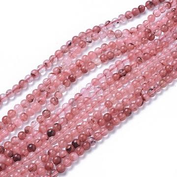 6mm Round Cherry Quartz Glass Beads