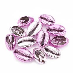 Perles coquillage cauri naturel galvanisé, perles non percées / sans trou, violette, 17~21x11~14x6~8mm(X-SSHEL-S258-06D)