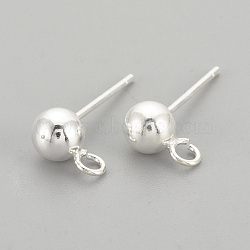 925 серьги из стерлингового серебра, вырезанные 925, серебро, 14 mm, отверстия: 1.5 mm; контактный: 0.7 mm(X-STER-S002-48)