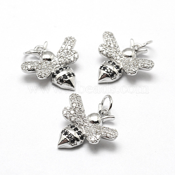 Real Platinum Plated Bees Brass+Cubic Zirconia Charms