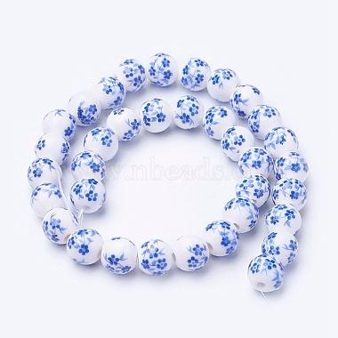 Chapelets de perles en céramique imprimées de fleurs manuelles(PORC-J006-C03-A)-2