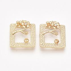 liens en laiton piquets, avec zircons, pour la moitié de perles percées, véritable plaqué or, sans nickel, carré avec fleur, effacer, 21x18x3.5 mm, trou: 1~1.2 mm; broches: 0.8 mm(KK-T038-543G-NF)