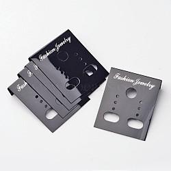 Carte d'affichage boucle d'oreille en plastique, noir, longueur d'environ 38 mm ,  largeur de 30 mm(JPC172Y)