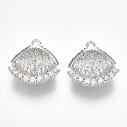 Pendentifs en forme de zircon cubique en laiton, pour perle à moitié percée, coquille, clair, Platine plaqué réel, 15.5x15.5x4.5mm, trou: 1.2 mm; broches: 1 mm(KK-S350-125P)