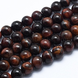 Natural Tiger Eye Bead Strands, Dyed & Heated, Round, Grade AB, 8mm, Hole: 1.2mm; about 48pcs/strand, 14.7inches(37.5cm)