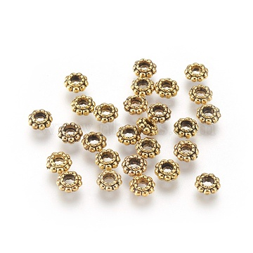 Tibetan Style Alloy Spacer Beads, Lead Free & Cadmium Free, Flower, Antique Golden, 6x3mm, Hole: 2.5mm(X-K0870031)
