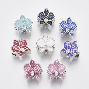 Brass Cubic Zirconia European Beads, with Epoxy Resin and Shell, Large Hole Beads, Flower, Platinum, Mixed Color, 13x12x10mm, Hole: 5mm(ZIRC-N038-04)