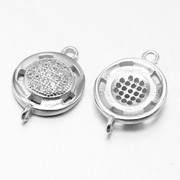 Flat Round 925 Sterling Silver Micro Pave Cubic Zirconia Links, Platinum, 16x11x3mm, Hole: 1mm(STER-F011-142)