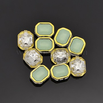 Sew on Rhinestone, Multi-strand Links, Taiwan Acrylic, Golden Plated, Garment Accessories, Rectangle, Pale Green, 10x8x5mm, Hole: 0.5mm(X-SA12-6x8-ACG-H30)