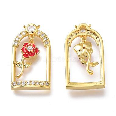 Valentine's Day Theme Brass Micro Pave Clear Cubic Zirconia Pendants(KK-J278-03G)-2