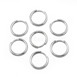 925 boucles d'oreilles créoles en argent sterling, platine, 20x2 mm; broches: 0.8 mm(STER-L057-077D)