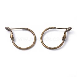 Brass Hoop Earring Findings, Ring, Antique Bronze, 20x1.5mm, Pin: 0.6mm(X-KK-I665-26A-AB)