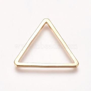 Brass Linking Rings, Triangle, Real 18K Gold Plated, 15x17x1mm; Inner Diameter: 12x14mm(KK-WH0033-39G)