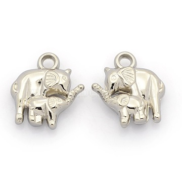 CCB Plastic Animal Pendants, Two Elephants, Platinum, 23.5x21.5x7mm, Hole: 3mm(CCB-J030-45P)