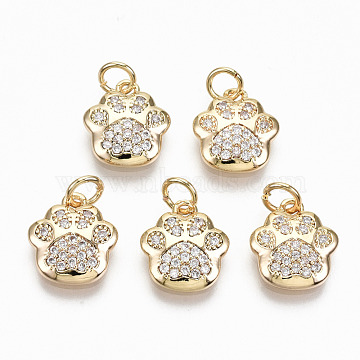 Brass Micro Pave Clear Cubic Zirconia Charms, with Jump Rings, Nickel Free, Dog Paw Prints, Real 18K Gold Plated, 11.5x10.5x2.5mm, Jump Ring: 4.5x0.7, Inner Diameter: 3mm(X-RJEW-T063-38G-NF)
