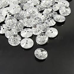 boutons en strass acrylique, 2-trou, facettes et dos plaqué argent, plat rond, effacer, 30x8 mm, trou: 2 mm(BUTT-A013-48L-01)
