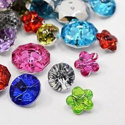 Boutons en acrylique avec strass, facette, formes mixtes, couleur mixte, 12~18x6.5~10mm, Trou: 1~1.5mm(BUTT-MSMC001-M3)