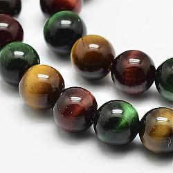"""Chapelets de perles d'œil de tigre naturel, rond, Grade a, couleur mixte, 4mm, trou: 0.8mm; environ 93 pcs/chapelet, 15.5""""(G-N0224-02-4mm)"""