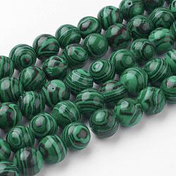 Chapelets de perles en malachite synthétique, rond, 10~10.5mm, trou: 1.5mm; environ 38 pcs/chapelet, 15.3'' (39 cm)(G-G735-70-10mm)