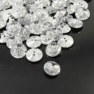 48L(30mm) Clear Flat Round Acrylic Rhinestone 2-Hole Button