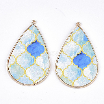 PU Leather Big Pendants, with Golden Plated Alloy Findings, teardrop, with Floral Pattern, LightBlue, 58x37x3mm, Hole: 1.6mm(X-FIND-S314-004B)