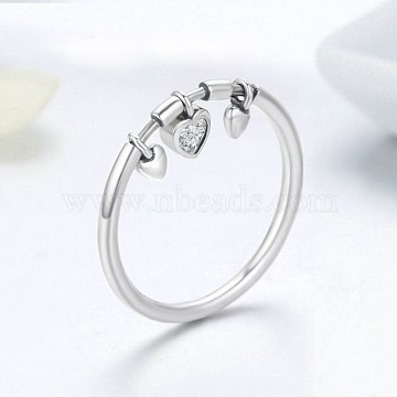925 Sterling Silver Finger Rings, with Cubic Zirconia, Carved 925, Heart, Clear, Platinum, Size 9, 18.9mm(RJEW-BB35535-9P)