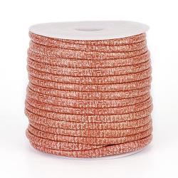 cordons en tissu imprimés, modèle de thème de Noël, phrase joyeux noel, d'orange, 7x5 mm; sur 20 m / rouleau(OCOR-G002-D02)