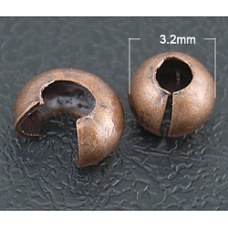 Crimp Beads Covers, Nickel Free, Red Copper, About 3.2mm In Diameter, 2.2mm Thick, Hole: 1mm(X-EC266-1NFR)