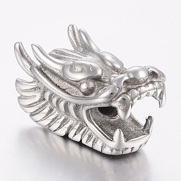 304 Stainless Steel European Beads, Large Hole Beads, Dragon Head, Stainless Steel Color, 28.5x15x17mm, Hole: 4mm(X-STAS-F150-099P)