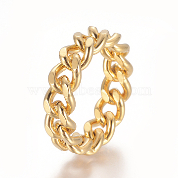 Unisex 304 Stainless Steel Rings, Diamond Cut Curb Chains Finger Rings, Wide Band Rings, Golden, Size 7, 17mm; 7mm(X-RJEW-L093-02G-17mm)