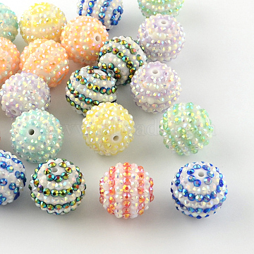 AB-Color Resin Rhinestone Round Beads, with Acrylic Beads Inside, Mixed Color, 20mm, Hole: 2~2.5mm(RESI-S313-18x20-M)