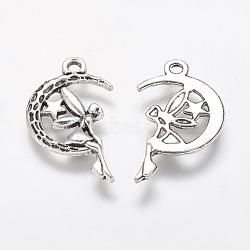 Tibetan Style Alloy Moon with Fairy Pendants, Halloween, Cadmium Free & Lead Free, Antique Silver, 25.4x14x2mm, Hole: 2mm