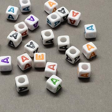 Large Hole Colorful Acrylic Letter European Beads, Cube with Letter.A, 7x7x7mm, Hole: 4mm(X-SACR-Q104-02A)