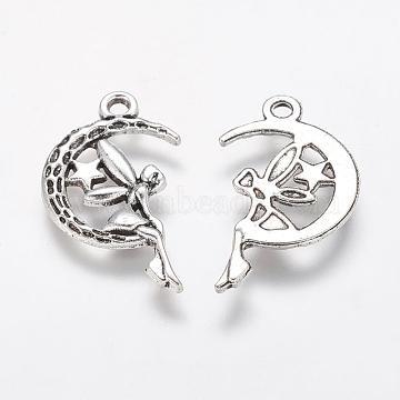 Tibetan Style Alloy Moon with Fairy Pendants, Halloween, Cadmium Free & Lead Free, Antique Silver, 25.4x14x2mm, Hole: 2mm(X-TIBEP-Q043-031-RS)