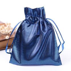 Sacs en tissu rectangle, avec cordon de serrage, darkblue, 12x9 cm(X-ABAG-R007-12x10-01)