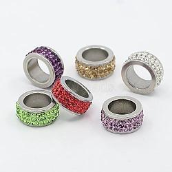 304 perles de colonne en acier inoxydable, avec argile polymère strass, couleur métallique en acier inoxydable, couleur mixte, 13x6mm, Trou: 8mm(RB-I065-M)