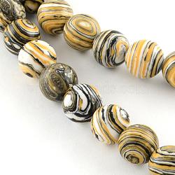 pierres précieuses synthétiques teints rangées de perles rondes, d'orange, 8 mm, trou: 1 mm; environ 50 perle / brin, 15.55(G-Q939-01B-07)