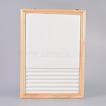 Linen Slotted Ring Display Stand, with Wood Frame, Rectangle, Linen, 35x25x2.25cm(ODIS-E015-01)