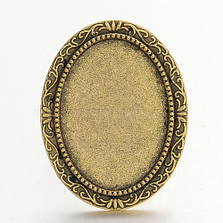 Vintage Adjustable Iron Finger Ring Components Alloy Cabochon Bezel Settings, Lead Free & Cadmium Free & Nickel Free, Antique Golden, 17x5mm; Oval Tray: 25x18mm(X-PALLOY-Q300-04AG-NR)