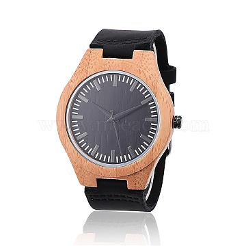 Carbonized Bamboo Wood Wristwatches, Men Electronic Watch, with Leather Watchbands and Alloy Findings, Black, 260x23x3mm; Watch Head: 53x45.5x11mm; Watch Face: 37mm(WACH-H037-04)