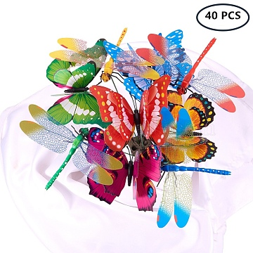 BENECREAT Garden Decoration, House Flowerpot Ornament Simulation Dragonfly/Butterfly, Mixed Color, 378~380mm(DIY-BC0010-06)