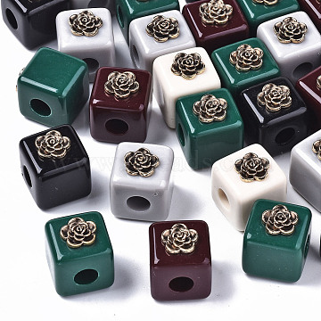 Resin European Beads, with Antique Golden Plated Alloy Findings, Large Hole Beads, Cadmium Free & Lead Free, Cube with Flower, Mixed Color, 22.5x19.5x19.5mm, Hole: 6mm(RESI-N022-07-RS)