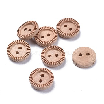 Natural Wood Buttons, 2-Hole, Flat Round with Groove, BurlyWood, 11.5x3.5mm, Hole: 1.5mm(BUTT-K008-06)