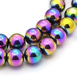 """Гальванизировать магнитные нити шарик синтетический гематит, круглые, с покрытием разноцветным, 8 мм, Отверстие : 1 мм; около 56 шт / нитка, 15.7""""(G-J320-05)"""