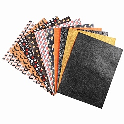 Halloween Theme PU Leather Fabric, with Glitter Powder, Earrings Accessories, for DIY Crafts, Mixed Color, 21x16x0.1cm; about 10sheet/set(AJEW-R094-01)